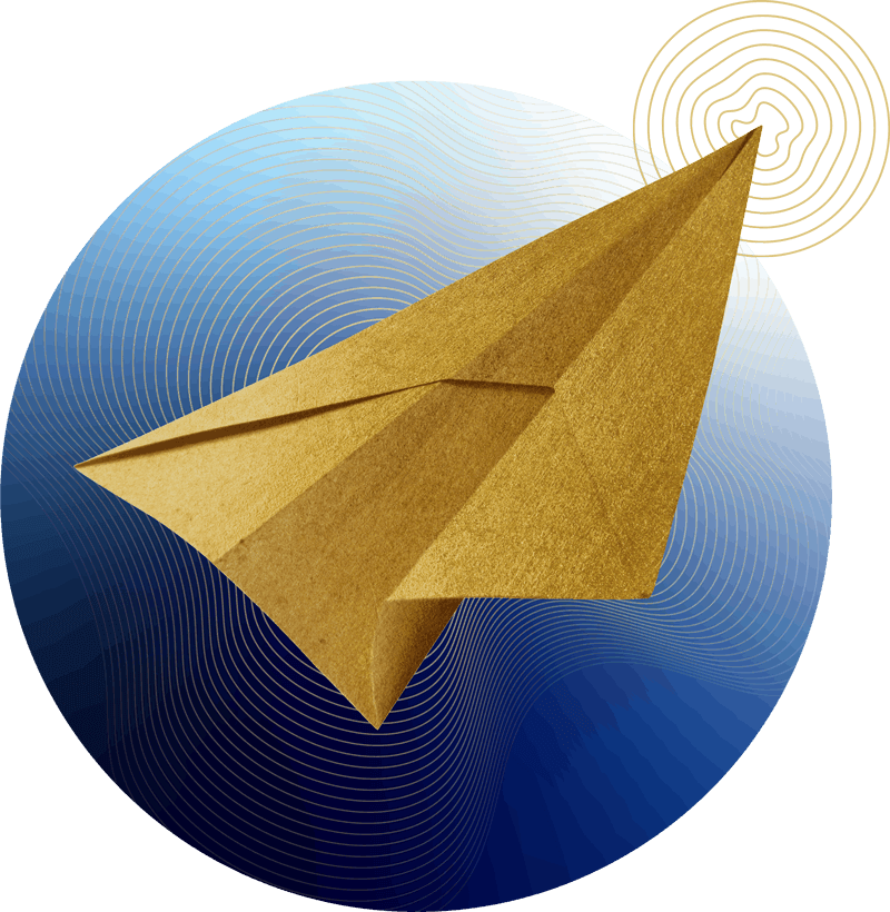 gold paper plane