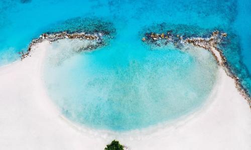 circle beach blue sea
