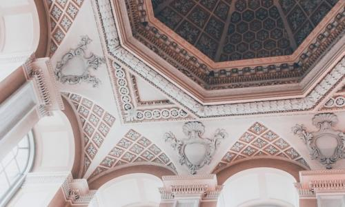 pink and coral ceiling